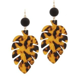 Acetate Marbled Tortoise Leaf Drop Earrings